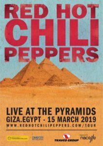 Red Hot Chili Peppers : affiche du concert en Egypte.
