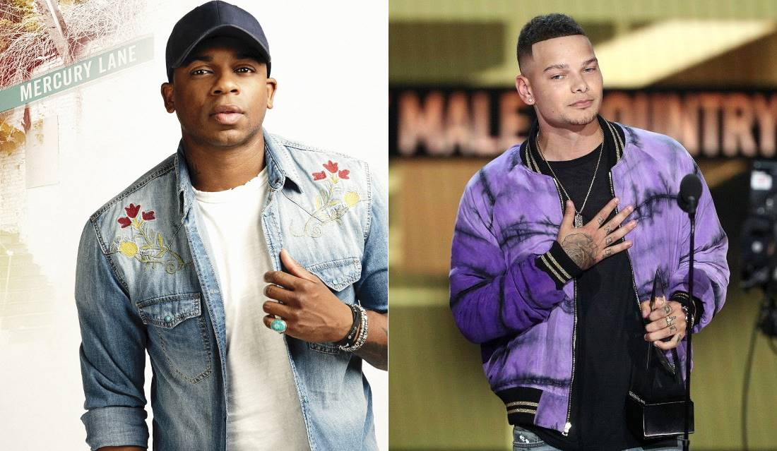 Les musiciens country Jimmie Allen (à gauche) et Kane Brown, en 2018