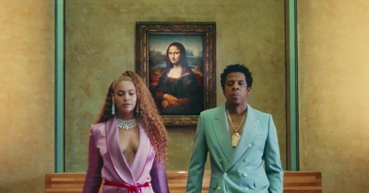 Beyoncé et Jay-Z, lors du tournage de leur clip Apeshit au musée du Louvre.